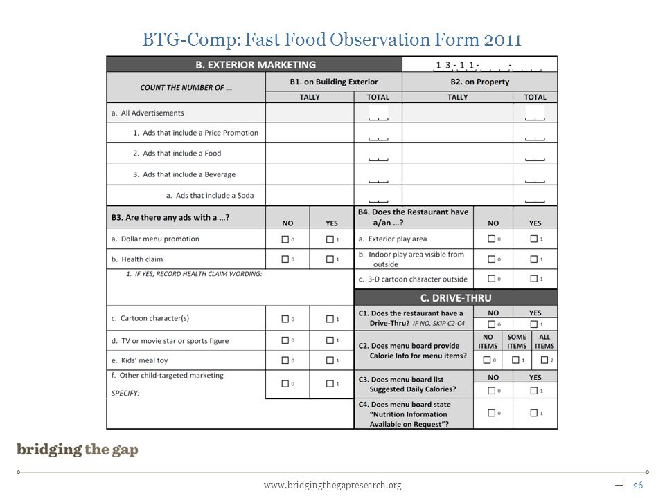 26www.bridgingthegapresearch.org BTG-Comp: Fast Food Observation Form 2011