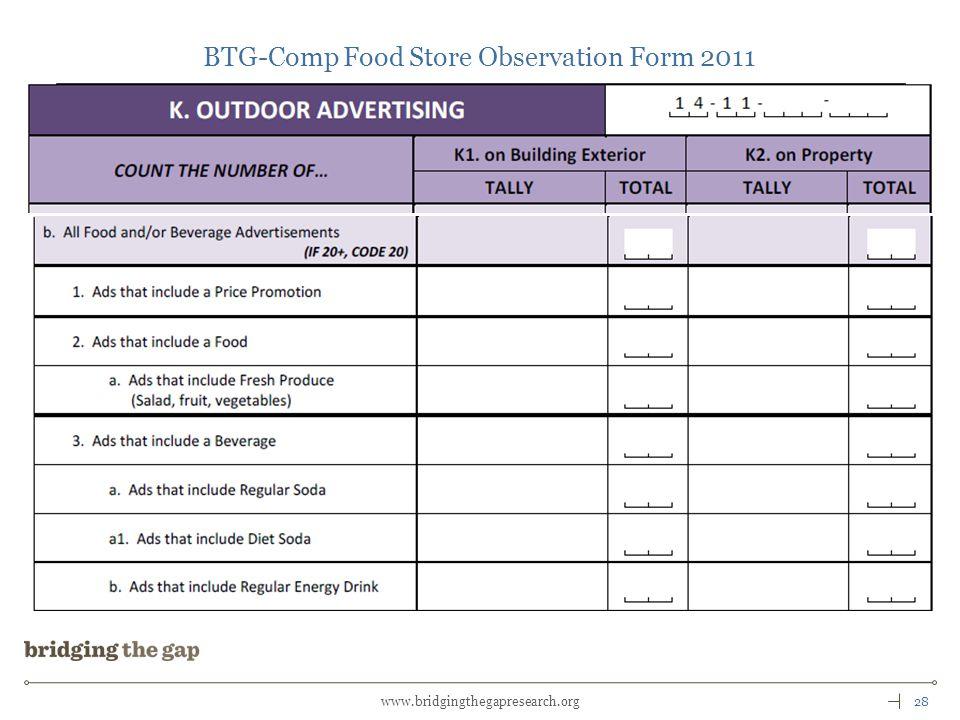 28www.bridgingthegapresearch.org BTG-Comp Food Store Observation Form 2011