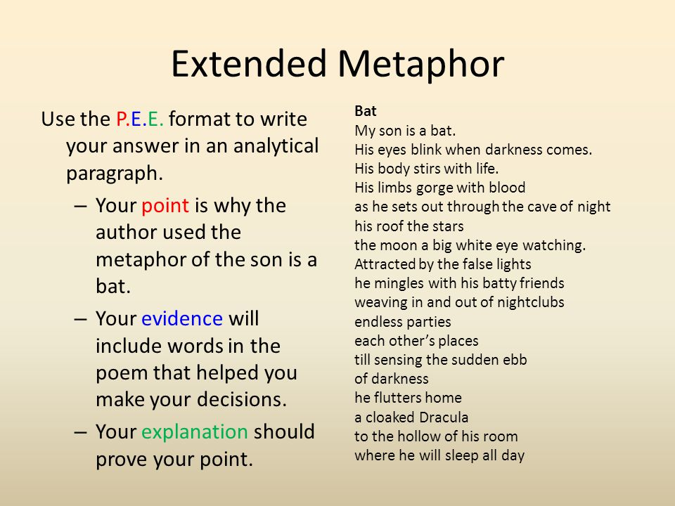 Use the P.E.E. format to write your answer in an analytical paragraph. – Your point is why the author used the metaphor of the son is a bat. – Your ev