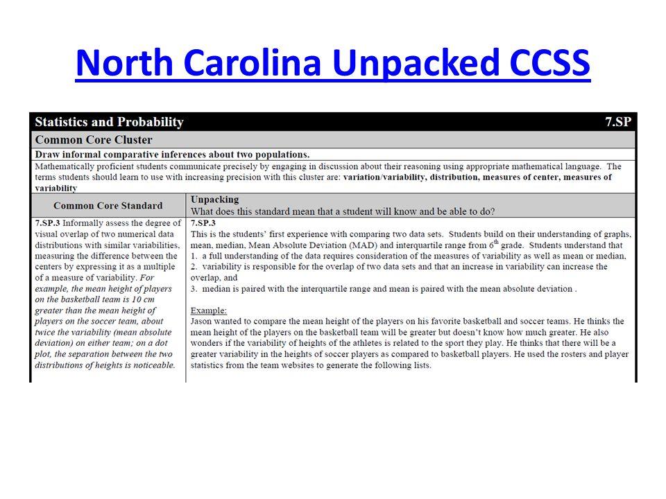 North Carolina Unpacked CCSS