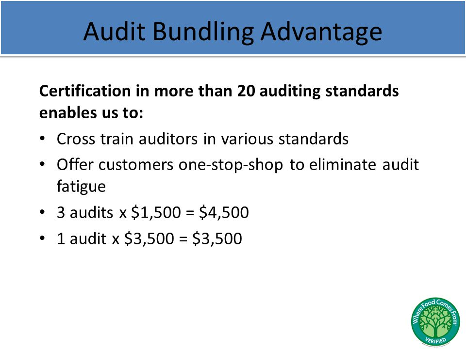 Audit Bundling Advantage Certification in more than 20 auditing standards enables us to: Cross train auditors in various standards Offer customers one