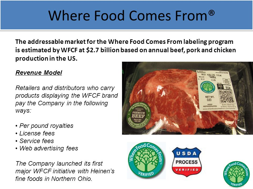 Where Food Comes From® The addressable market for the Where Food Comes From labeling program is estimated by WFCF at $2.7 billion based on annual beef