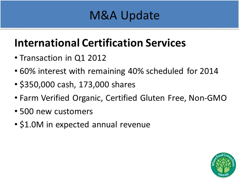 M&A Update International Certification Services Transaction in Q1 2012 60% interest with remaining 40% scheduled for 2014 $350,000 cash, 173,000 share
