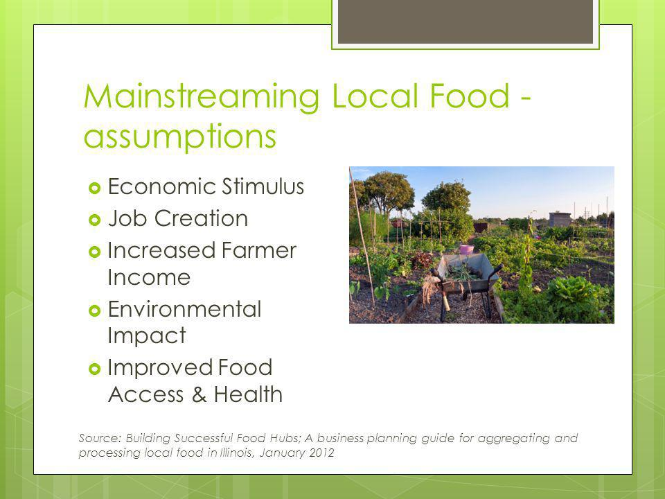 Consumer Interest Consumers are interested in: Local Sustainable Authentic Innovative Organic Healthy Safe Proximity is a proxy for some or all of these attributes Consumers first notice local fruits and vegetables as an indicator of store quality Source: Networking Across the Supply Chain: Transportation innovations in Driftless local and regional food systems.