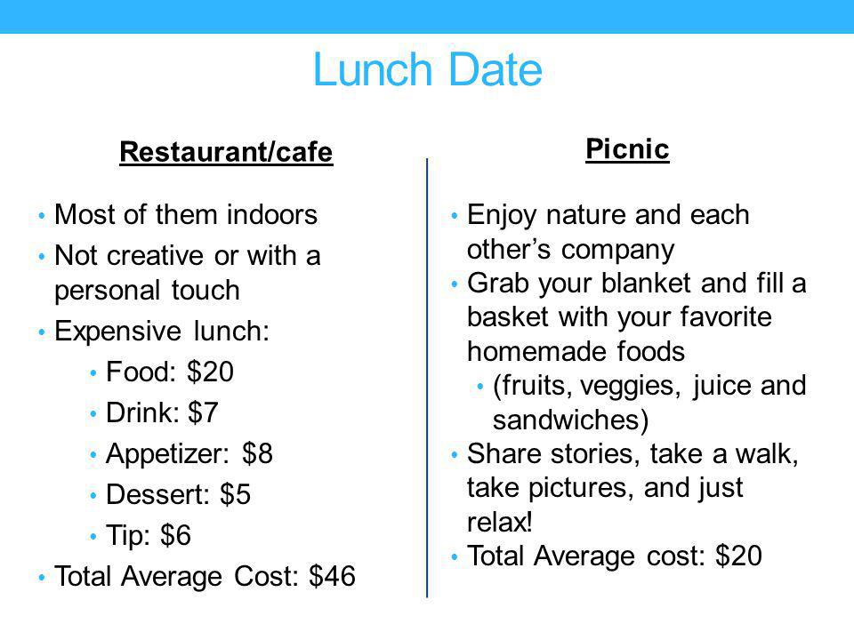Lunch Date Restaurant/cafe Most of them indoors Not creative or with a personal touch Expensive lunch: Food: $20 Drink: $7 Appetizer: $8 Dessert: $5 Tip: $6 Total Average Cost: $46 Picnic Enjoy nature and each others company Grab your blanket and fill a basket with your favorite homemade foods (fruits, veggies, juice and sandwiches) Share stories, take a walk, take pictures, and just relax.