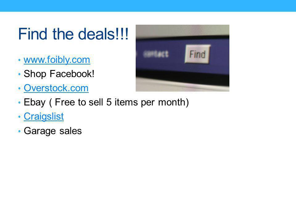 Find the deals!!. www.foibly.com Shop Facebook.