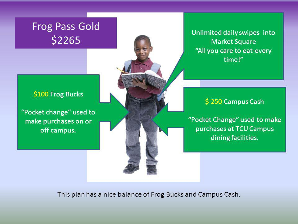 $ 250 Campus Cash Pocket Change used to make purchases at TCU Campus dining facilities. $100 Frog Bucks Pocket change used to make purchases on or off