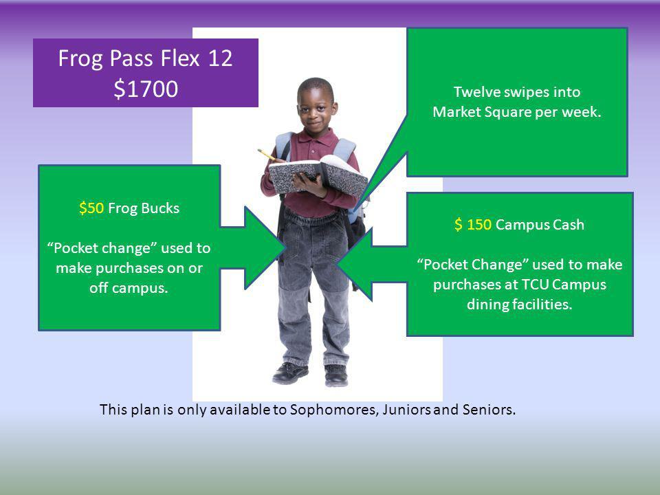 $ 150 Campus Cash Pocket Change used to make purchases at TCU Campus dining facilities. $50 Frog Bucks Pocket change used to make purchases on or off