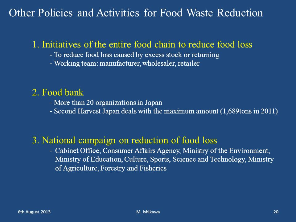 6th August 2013M. Ishikawa20 Other Policies and Activities for Food Waste Reduction 1.