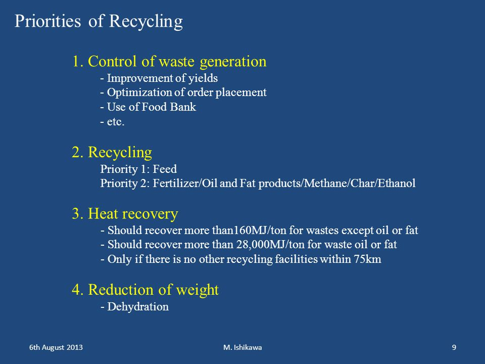 1.Control of waste generation target - Depending on business group: not binding so far - Targets are set based on reported data -Target level is set so as ca.
