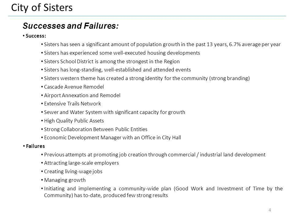 City of Sisters Successes and Failures: Success: Sisters has seen a significant amount of population growth in the past 13 years, 6.7% average per yea