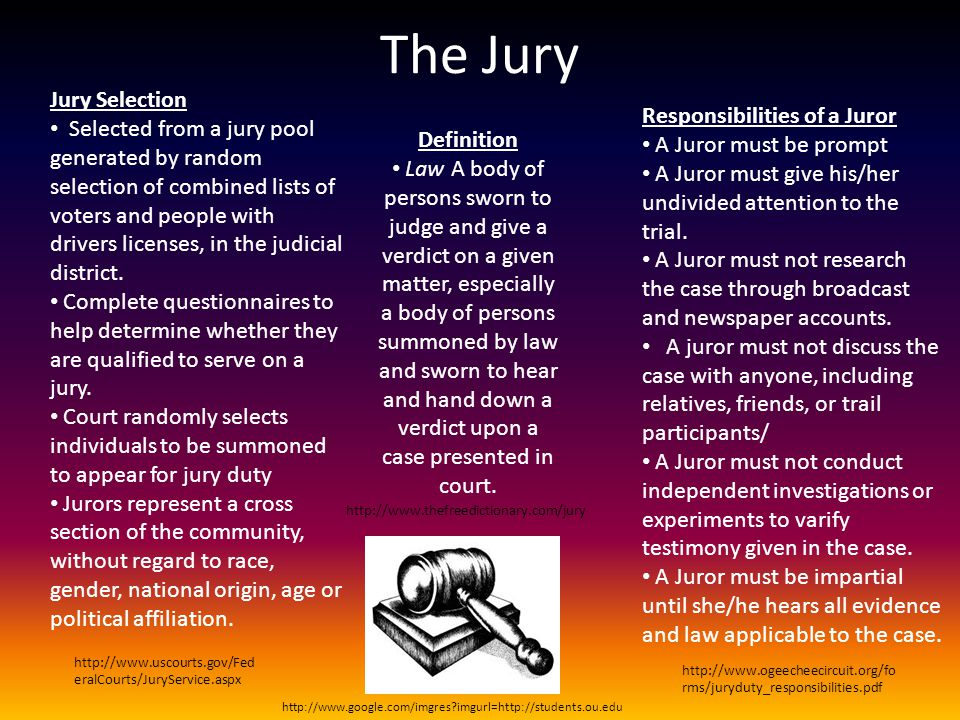 The Jury Jury Selection Selected from a jury pool generated by random selection of combined lists of voters and people with drivers licenses, in the j