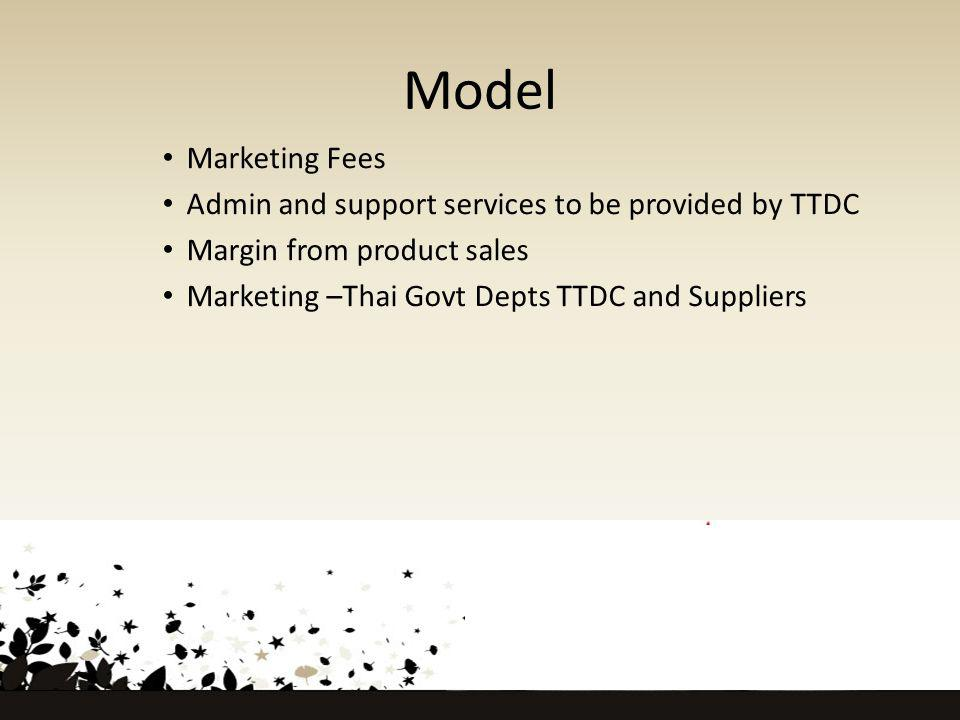Model Marketing Fees Admin and support services to be provided by TTDC Margin from product sales Marketing –Thai Govt Depts TTDC and Suppliers