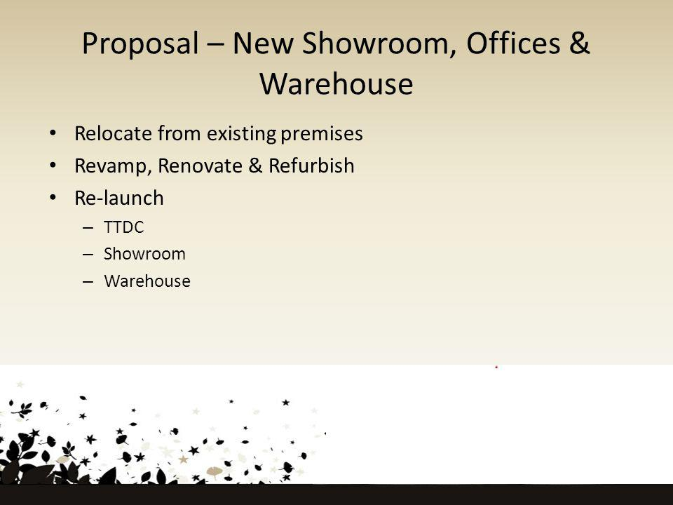 Proposal – New Showroom, Offices & Warehouse Relocate from existing premises Revamp, Renovate & Refurbish Re-launch – TTDC – Showroom – Warehouse