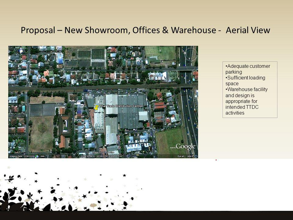 Proposal – New Showroom, Offices & Warehouse - Aerial View Adequate customer parking Sufficient loading space Warehouse facility and design is appropriate for intended TTDC activities