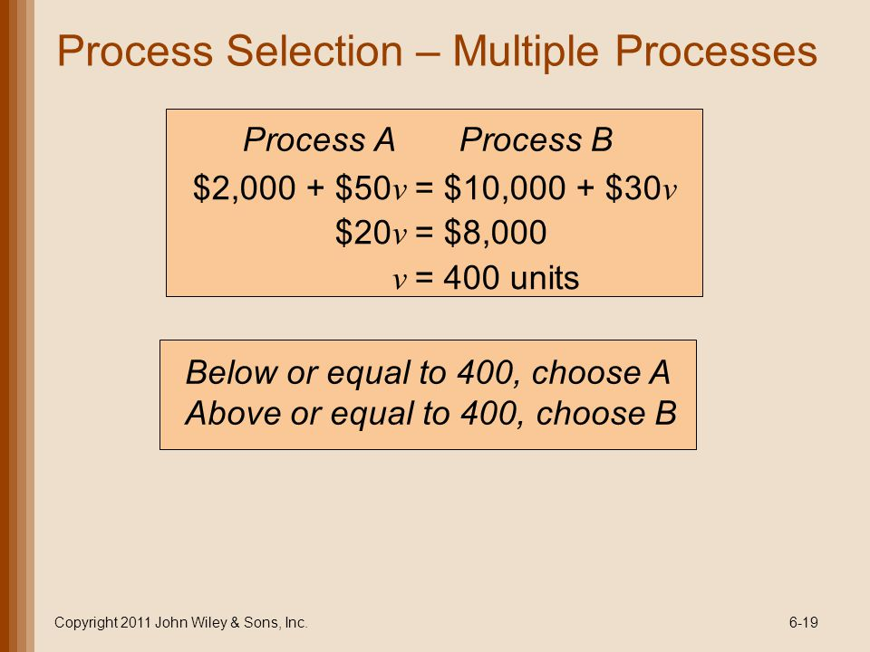 Process Selection – Multiple Processes Copyright 2011 John Wiley & Sons, Inc.6-19 Below or equal to 400, choose A Above or equal to 400, choose B $2,0