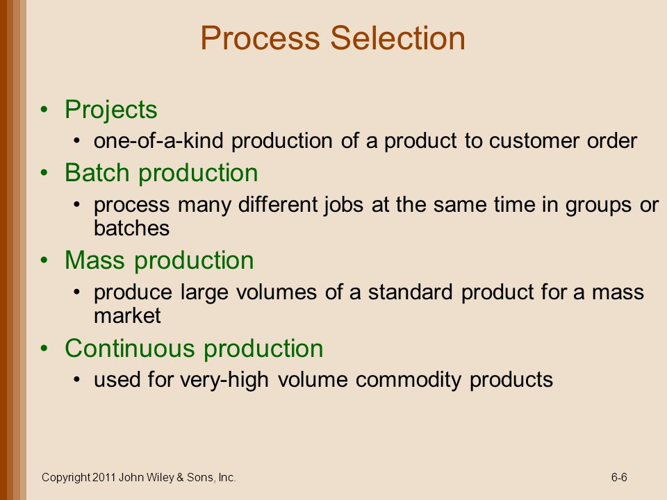 Process Flowcharts Look at manufacture of product or delivery of service from broad perspective Incorporate nonproductive activities (inspection, transportation, delay, storage) productive activities (operations) Copyright 2011 John Wiley & Sons, Inc.6-27
