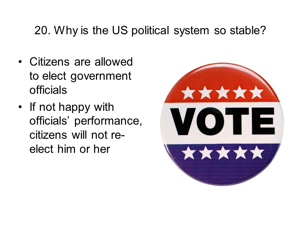 20. Why is the US political system so stable? Citizens are allowed to elect government officials If not happy with officials performance, citizens wil