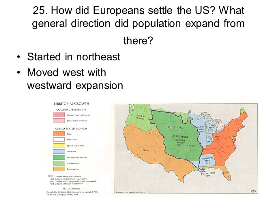 25. How did Europeans settle the US? What general direction did population expand from there? Started in northeast Moved west with westward expansion