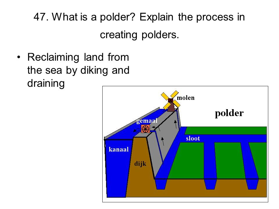 47. What is a polder? Explain the process in creating polders. Reclaiming land from the sea by diking and draining