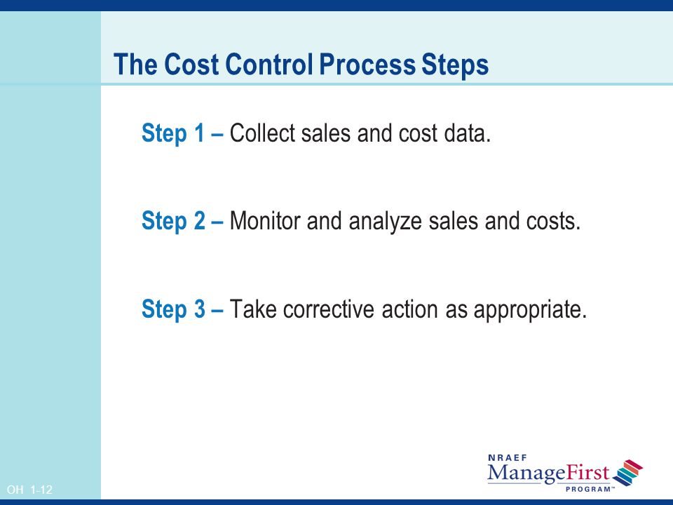 OH 1-12 The Cost Control Process Steps Step 1 – Collect sales and cost data. Step 2 – Monitor and analyze sales and costs. Step 3 – Take corrective ac