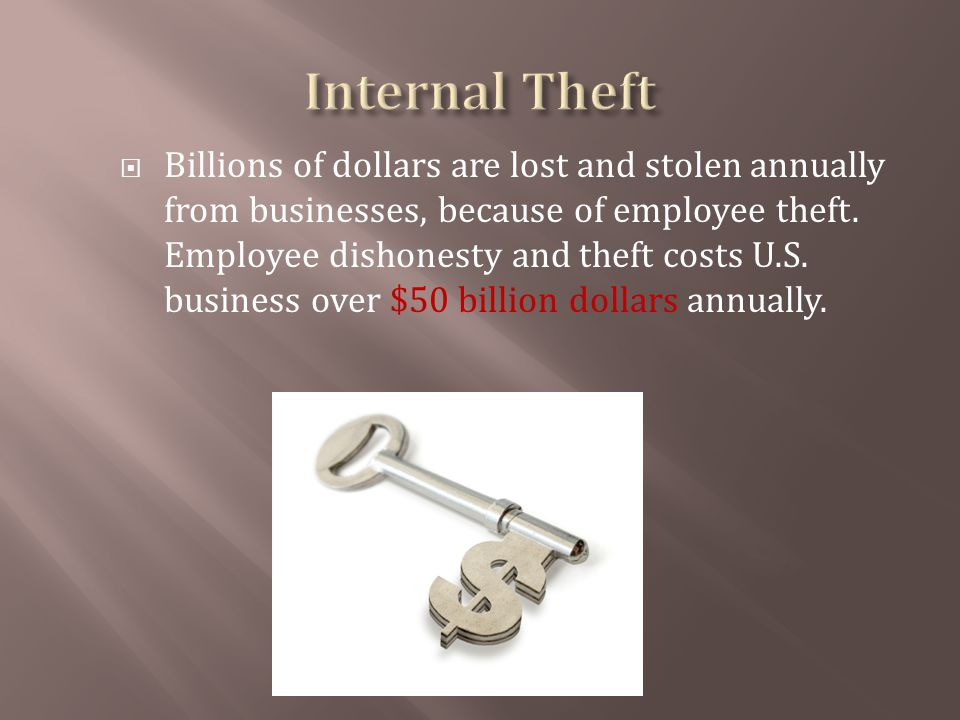 Billions of dollars are lost and stolen annually from businesses, because of employee theft.