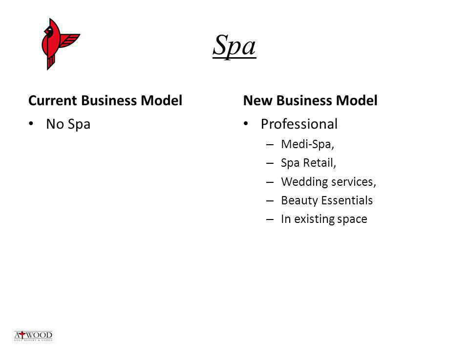 Spa Current Business Model No Spa New Business Model Professional – Medi-Spa, – Spa Retail, – Wedding services, – Beauty Essentials – In existing space