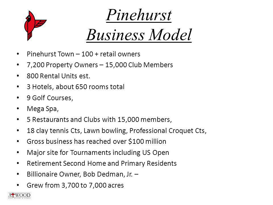 Pinehurst Business Model Pinehurst Town – 100 + retail owners 7,200 Property Owners – 15,000 Club Members 800 Rental Units est.
