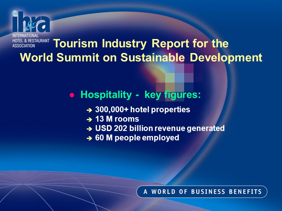 Hospitality - key figures: 300,000+ hotel properties 13 M rooms USD 202 billion revenue generated 60 M people employed Tourism Industry Report for the World Summit on Sustainable Development