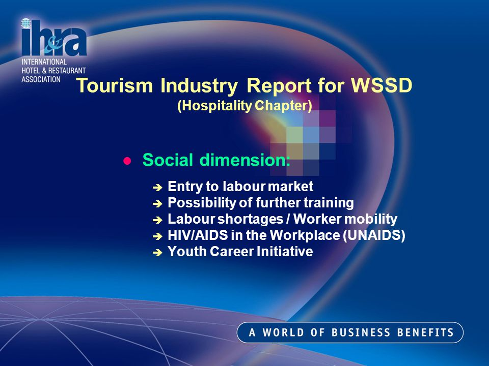 Social dimension: Entry to labour market Possibility of further training Labour shortages / Worker mobility HIV/AIDS in the Workplace (UNAIDS) Youth Career Initiative Tourism Industry Report for WSSD (Hospitality Chapter)