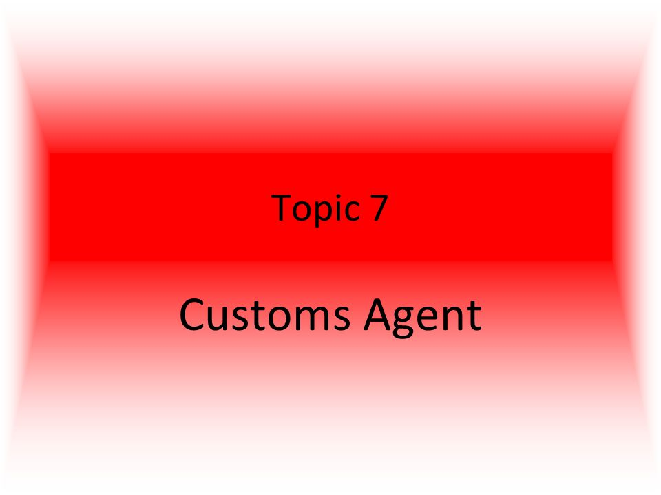 Topic 7 Customs Agent