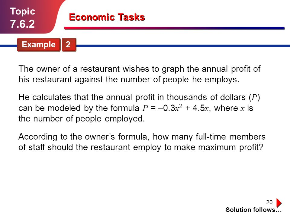 20 Topic 7.6.2 Economic Tasks Example 2 The owner of a restaurant wishes to graph the annual profit of his restaurant against the number of people he