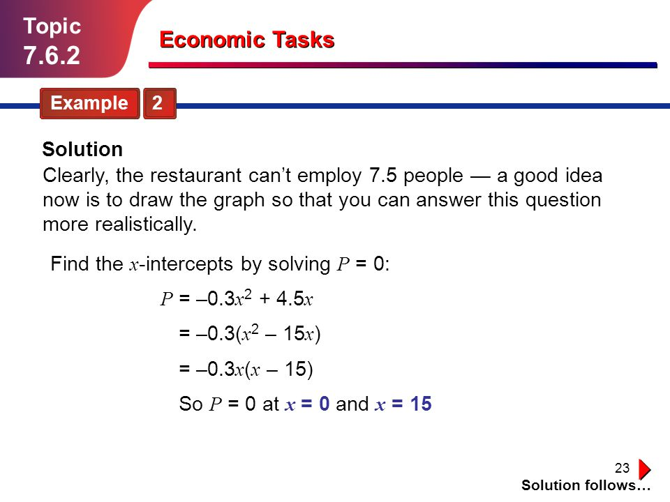 23 Topic 7.6.2 Example 2 Solution follows… Economic Tasks Solution Clearly, the restaurant cant employ 7.5 people a good idea now is to draw the graph
