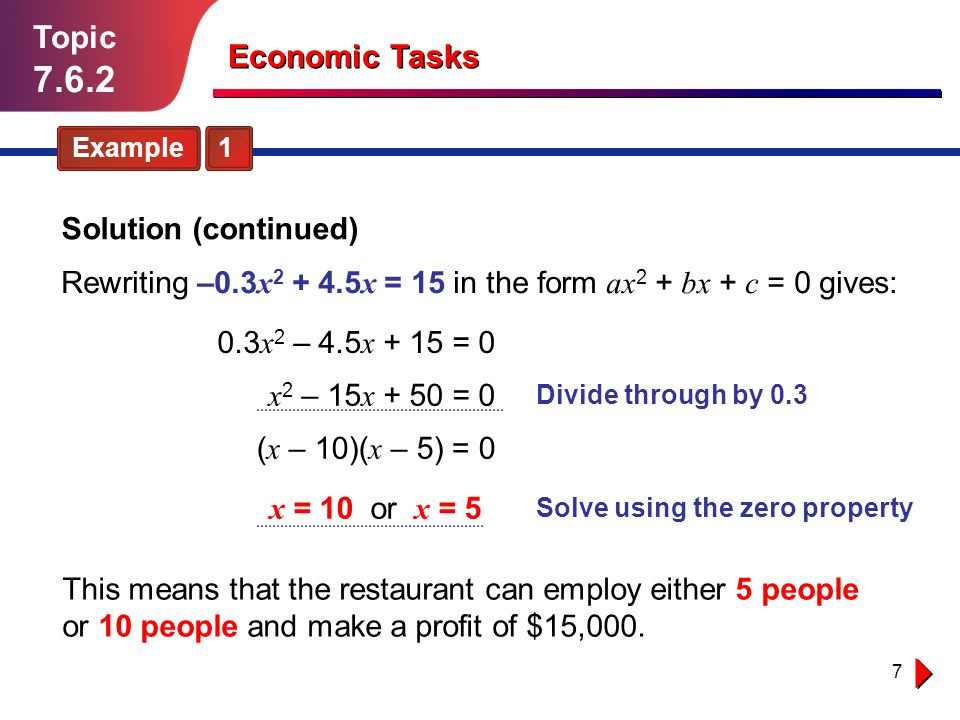 7 Topic 7.6.2 Economic Tasks Example 1 Rewriting –0.3 x 2 + 4.5 x = 15 in the form ax 2 + bx + c = 0 gives: 0.3 x 2 – 4.5 x + 15 = 0 This means that t
