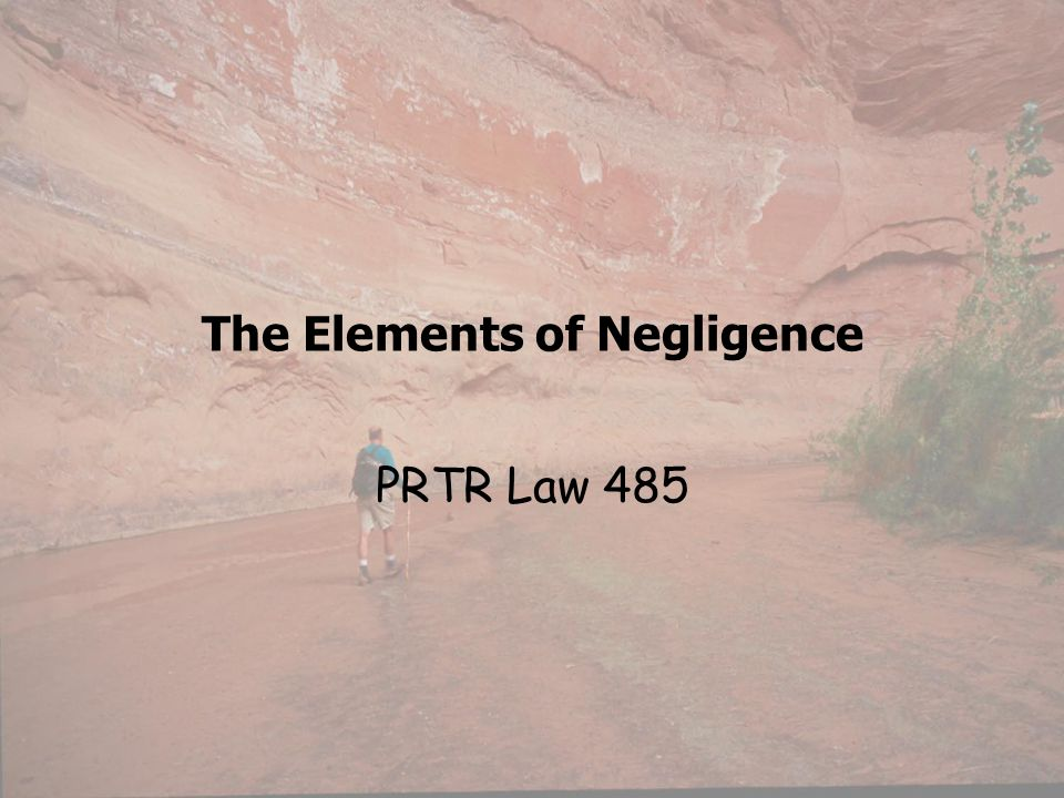The Elements of Negligence PRTR Law 485