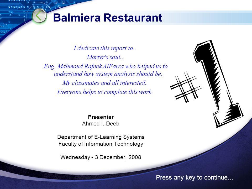 Chapter 2 Project Plan Balmiera restaurant