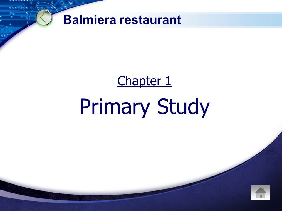 Chapter 1 Primary Study Balmiera restaurant