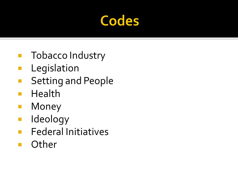 Tobacco Industry Legislation Setting and People Health Money Ideology Federal Initiatives Other