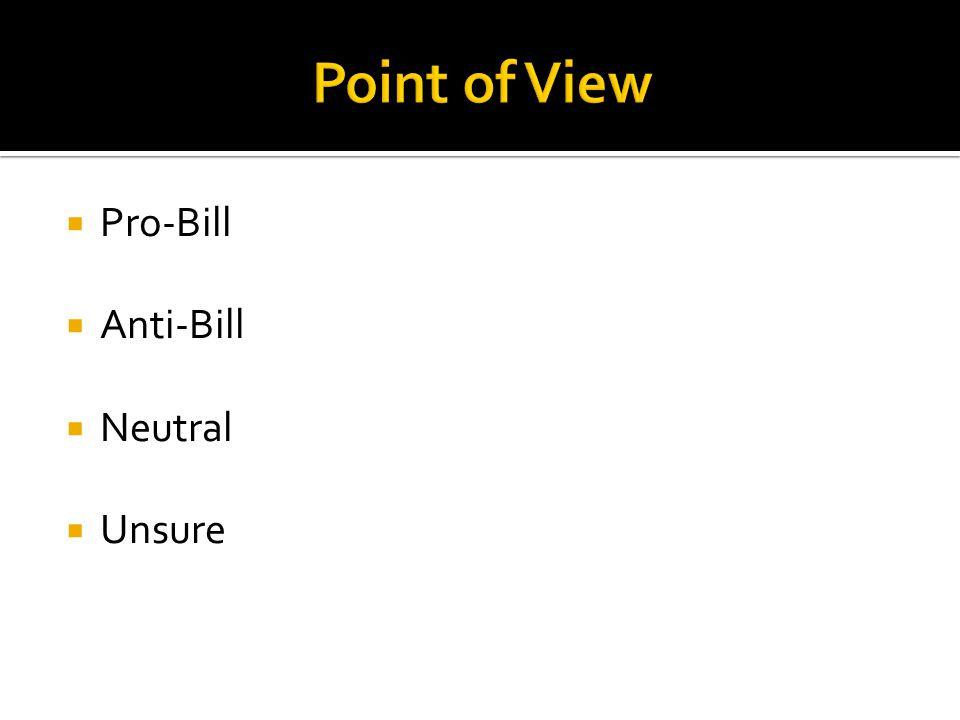 Pro-Bill Anti-Bill Neutral Unsure