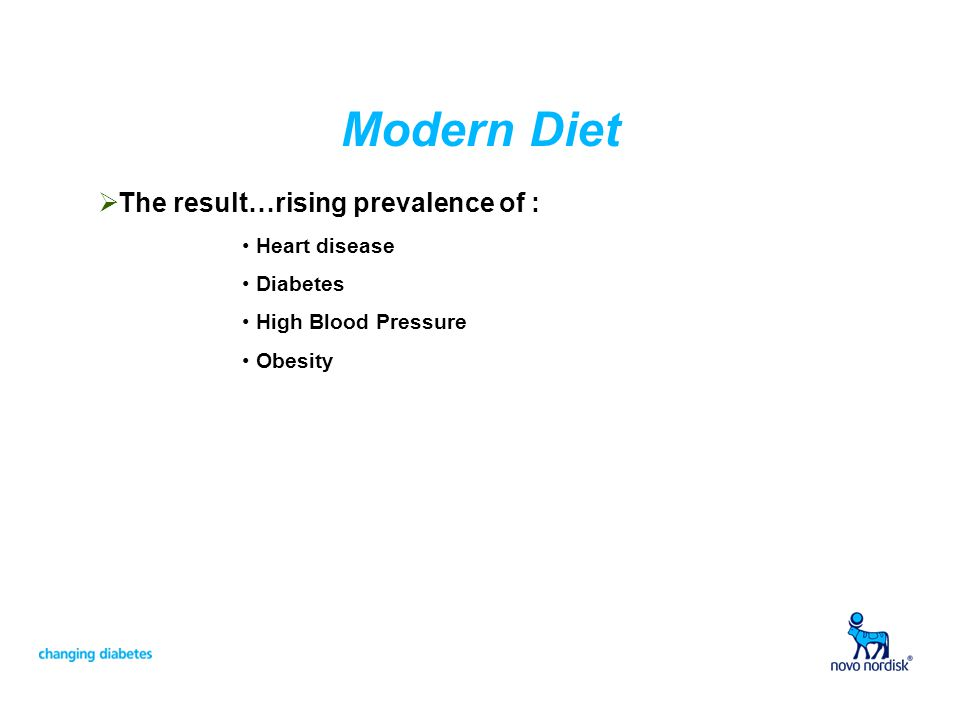 Modern Diet The result…rising prevalence of : Heart disease Diabetes High Blood Pressure Obesity