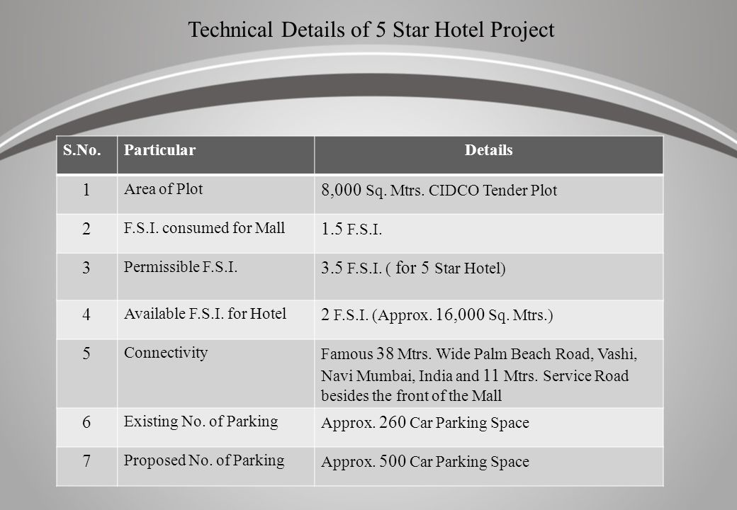 Technical Details of 5 Star Hotel Project S.No.ParticularDetails 1 Area of Plot 8,000 Sq. Mtrs. CIDCO Tender Plot 2 F.S.I. consumed for Mall 1.5 F.S.I