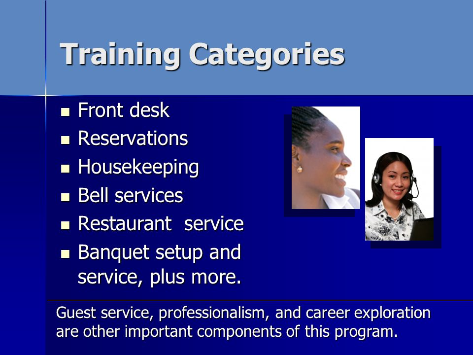 Front desk Front desk Reservations Reservations Housekeeping Housekeeping Bell services Bell services Restaurant service Restaurant service Banquet setup and service, plus more.
