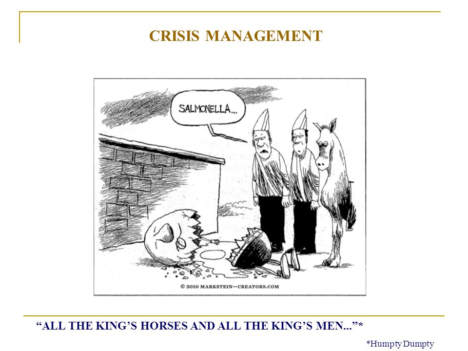 ALL THE KINGS HORSES AND ALL THE KINGS MEN...* *Humpty Dumpty CRISIS MANAGEMENT