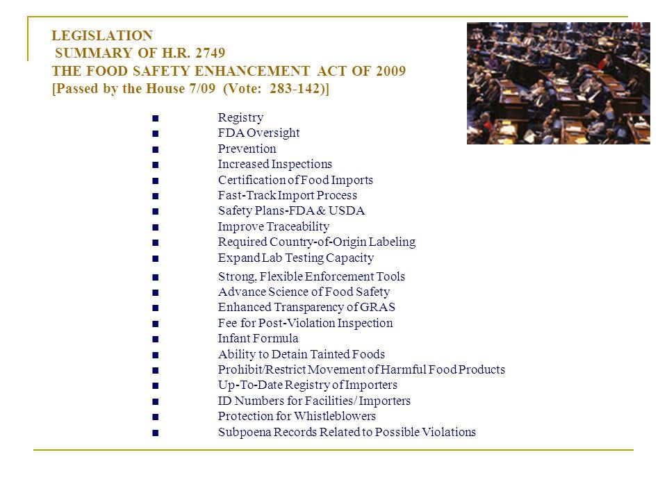 LEGISLATION SUMMARY OF H.R.