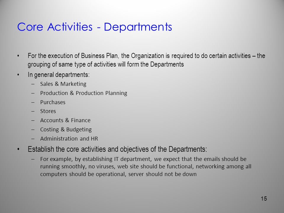 Core Activities - Departments For the execution of Business Plan, the Organization is required to do certain activities – the grouping of same type of