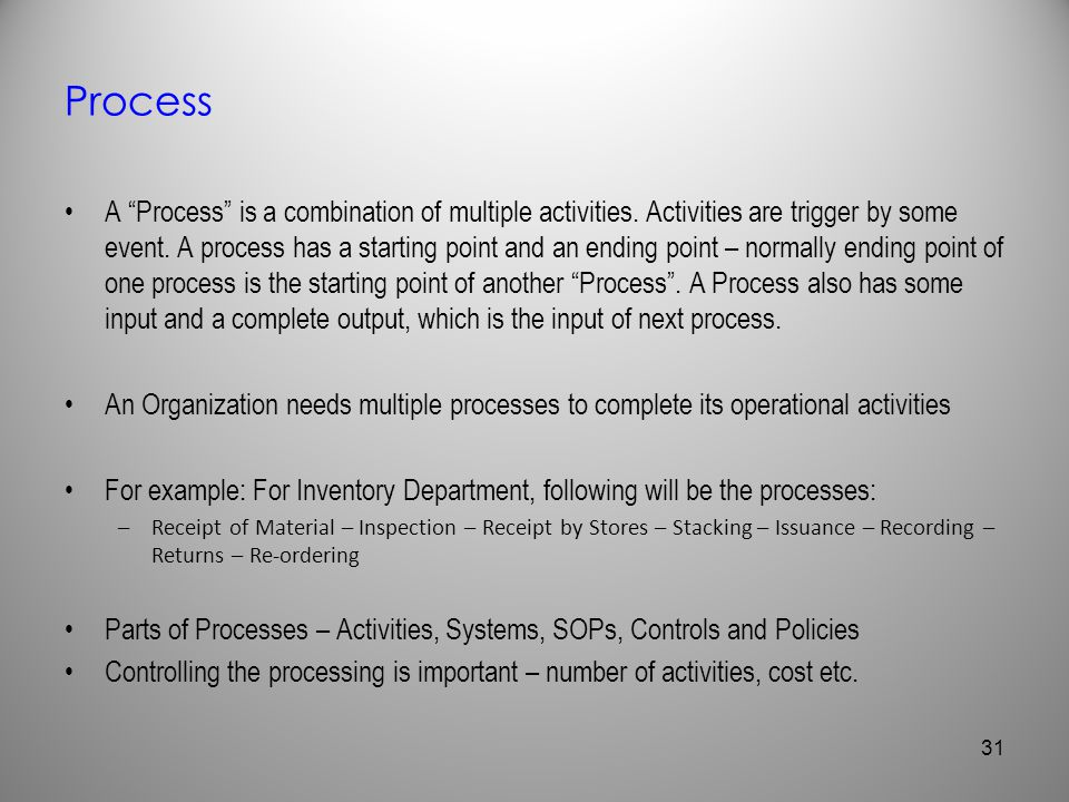 Process A Process is a combination of multiple activities. Activities are trigger by some event. A process has a starting point and an ending point –
