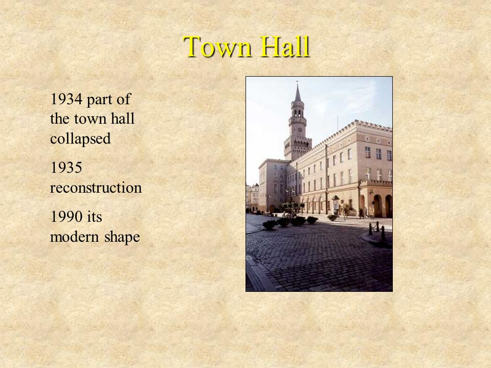 1934 part of the town hall collapsed 1935 reconstruction 1990 its modern shape Town Hall