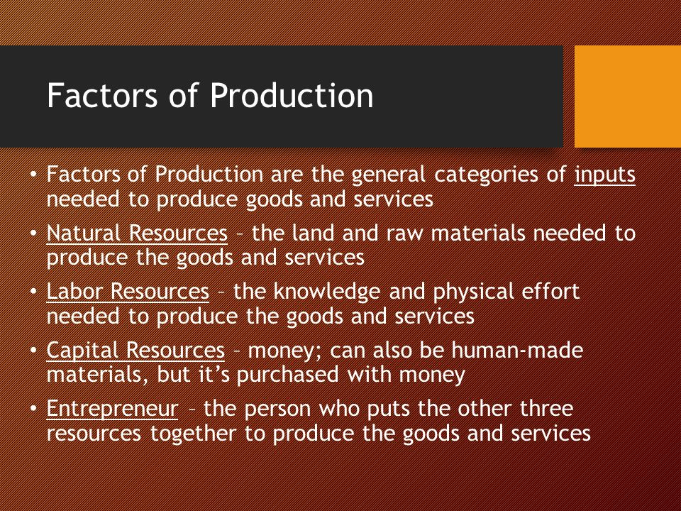 Factors of Production Factors of Production are the general categories of inputs needed to produce goods and services Natural Resources – the land and
