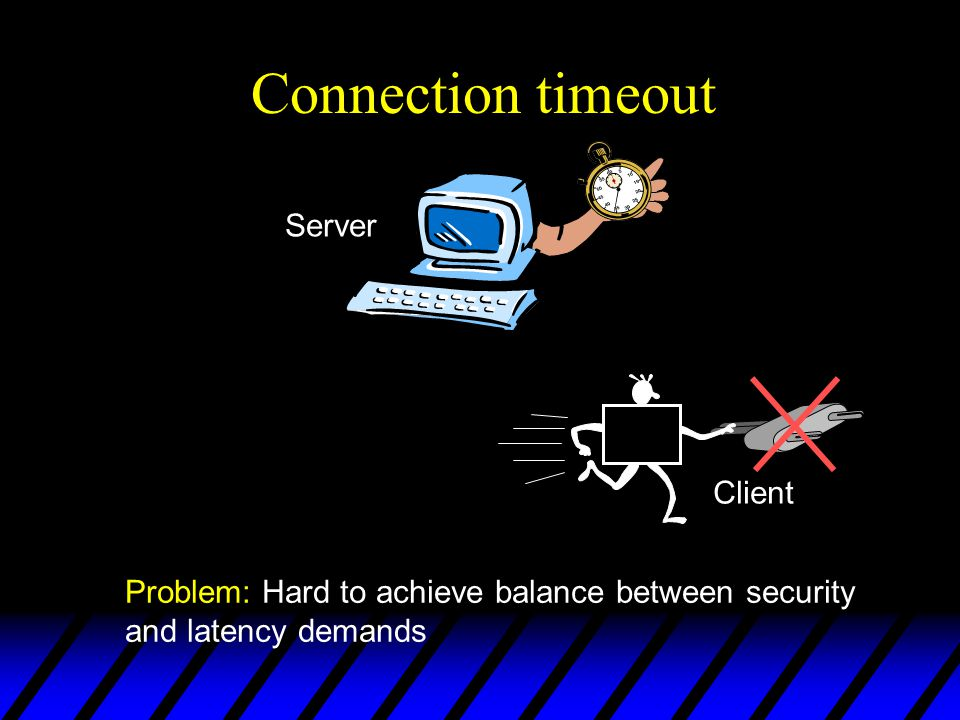 Connection timeout Problem: Hard to achieve balance between security and latency demands Server Client
