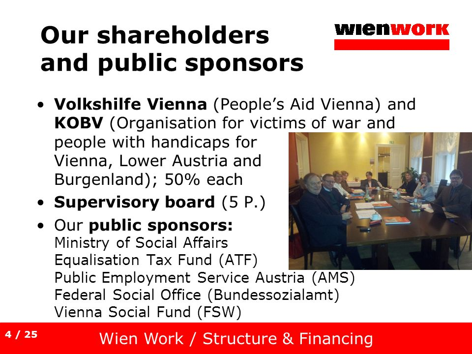 Our shareholders and public sponsors Volkshilfe Vienna (Peoples Aid Vienna) and KOBV (Organisation for victims of war and people with handicaps for Vienna, Lower Austria and Burgenland); 50% each Supervisory board (5 P.) Our public sponsors: Ministry of Social Affairs Equalisation Tax Fund (ATF) Public Employment Service Austria (AMS) Federal Social Office (Bundessozialamt) Vienna Social Fund (FSW) Wien Work / Structure & Financing 4 / 25